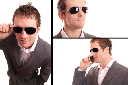 3 different images of a smart business man who is very successful  photo