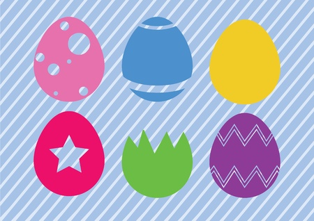 6 simplistic style easter egg designs for the easter holiday. 6 Unique designs with colourful striped background. Eps V8.