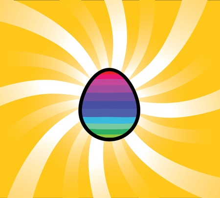 Illustration of a rainbow egg with swirly light bursts from behind it. Eps V8. Banco de Imagens - 9259806