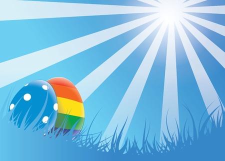 nested: a lovely easter egg vector scene. Illustrations shows two eggs nested in white grass on a sunny day.Eps V8.