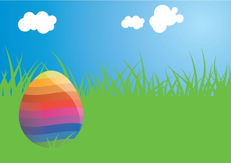 A vector illustration of a rainbow coloured easter egg basking in the sun on a perfect day. This vector atrwork is saved as a EPS version 8 file