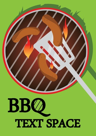 BBQ illustration of some sausages cooking on a sizzling hot BBQ with a spatula. Illustrator Eps version 8. Illustration also has writing space. Illustration