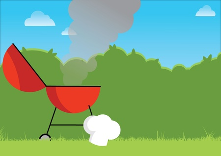 Hot BBQ illustration of a red BBG smoking away on a summers day. Illustrator Eps version 8.