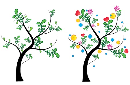 a spring and summer tree, spring tree with a cool leaf design and summer tree with bright  blooming colours Illustration