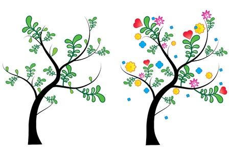 un arbre au printemps et en été, printemps arbre avec un design frais et des feuilles d'arbre en été avec des couleurs vives fleurs