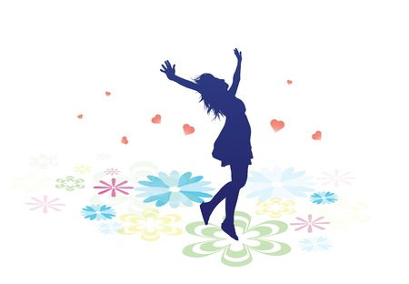 une silhouette féminine marchait sur grandes fleurs multicolores.