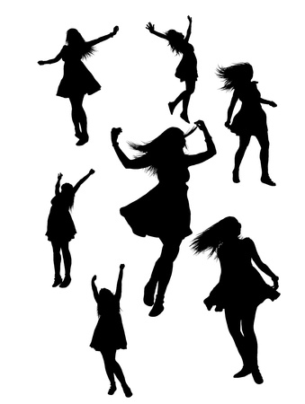 computer dancing: seven joyful woman silhouettes nicely layed out.