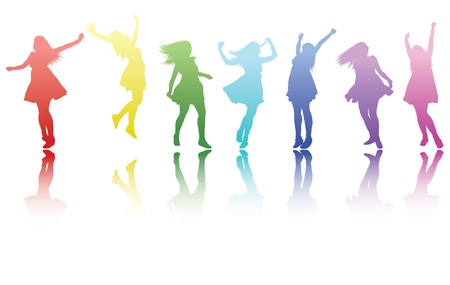 happy people: a beautiful colourful row of silouetted girls all doing a different pose with a reflection. Illustration