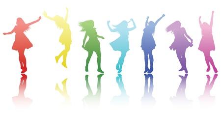 une rangée colorée magnifique de filles de silouetted tous les faire une pose différente avec une réflexion.