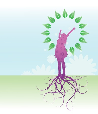 A patterned silhouetted girl growing from her roots and bursting in to a full flurish of leaves. Vector