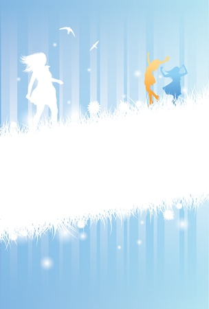 a fantastic vector design of two silhouetted girls celebrating summer. The design is mainly for an information use with text space visable. EPS V8 Vector