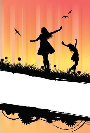 un fantastico disegno vettoriale di tre ragazze staglia che festeggiano l'estate. Il design è principalmente per un uso informativo con lo spazio del testo visibile. EPS V8