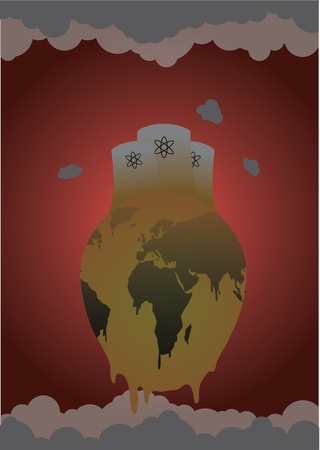 smoke stack: A vector illustration of our world in the concept of being killed by pollution. Eps V8.