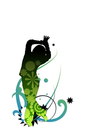 vectored dancer with gradients and opacity mask surrounded by flowers and swirls