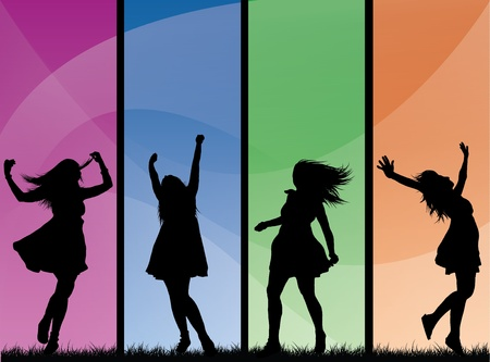4 stylish silhouetted girls against a bright and colorful background with gradient swirls on. Eps V8, contains gradients and opacities. Stock Vector - 9930971