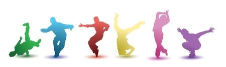 una ilustración silueta de 6 colores brillantes bailarines sobre un fondo blanco con una sombra de color debajo. EPS V8, contiene degradados y opacidades.