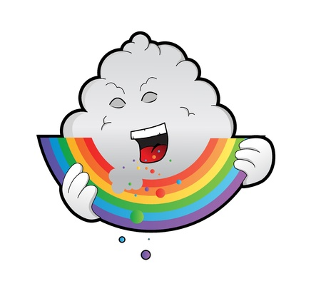 a well designed and detailed illustration of a bad rain cloud eating away on a bright colorful rainbow. Eps version, paths and gradients used