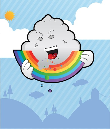 well designed and detailed illustration of a bad rain cloud eating away on a bright colorful rainbow Eps version, paths and gradients used Vector