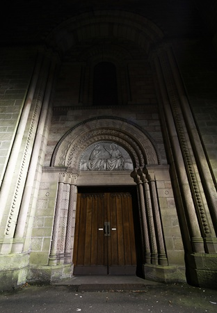 a wide angle shot of front entrance to a church.