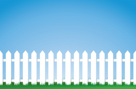 picket fence: a vector illustration of a white picket fence, Image contains lots of space for copy. Eps version 8