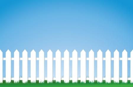 cerca blanca: una ilustraci�n vectorial de una valla de piquete blanca, imagen contiene gran cantidad de espacio para la copia. EPS versi�n 8  Vectores