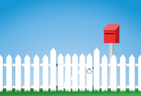 a vector illustration of a white gated picket fence with a mailbox, Image contains lots of space for copy. Eps version 8