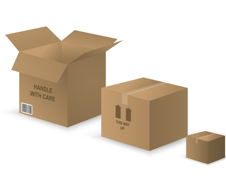 vector illustration of three different cardboard boxes to symbolize storage. Contains gradients and blends, EPS version 8.