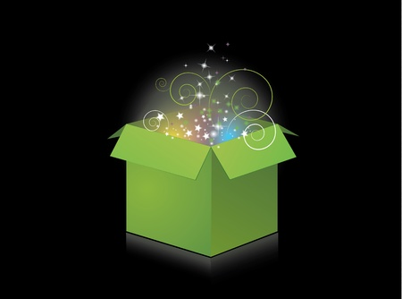 a vector illustration of an open gift box with stars, swirls and glows bursting out of it. EPS version 8, contains gradients and blends.