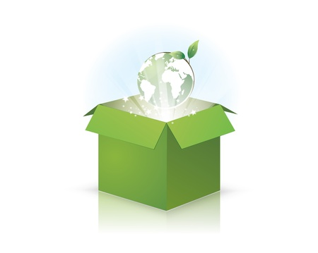 an illustration of the earth popping out of a green eco box with light rays and stars with it. EPS version 8, contains transparency and gradients. Illustration
