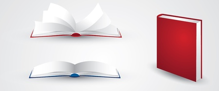 three separate book illustrations in vector format. contains two open books in different pages and flipping pages, and one other book stood up on its own. EPS version 8, contains transparency and gradients.