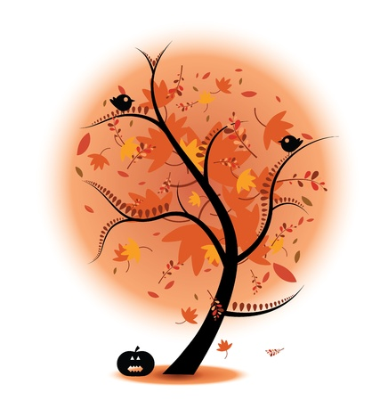 Autumn Tree Stock Illustration complete with birds and a pumpkin. Perfect for autumn themes. Eps V 8, gradients and opacity used. Vector