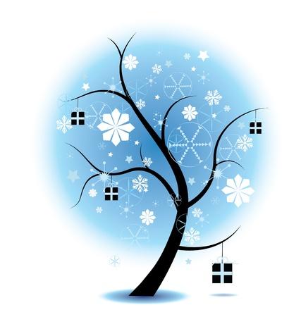 Árbol de Navidad de invierno Stock ilustración completa con copos de nieve y regalos. Perfecto para temas de Navidad. EPS V 8, degradados y opacidad utilizado.
