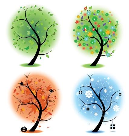 compatible: Quatre illustrations diff�rentes d'arbres pour symboliser les quatre saisons de l'ann�e. Printemps, �t�, automne, hiver. EPS version 8 compatible avec les gradients.
