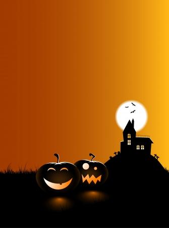 fondo luminoso: 2 calabazas miedos sentado en el piso con caras, con una casa embrujada en segundo plano.