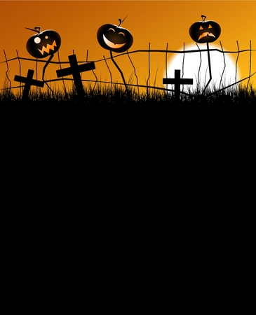 2 scary pumpkins sitting on a fence with faces, with a great big moon in the background. Vector