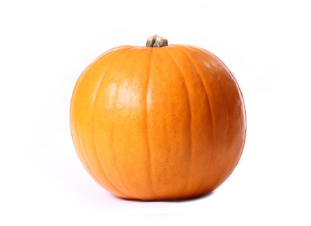 large orange pumpkin isolated on a white background. Banque d'images