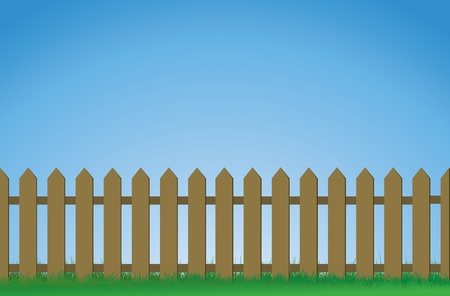An illustration of a white picket fence. Vector