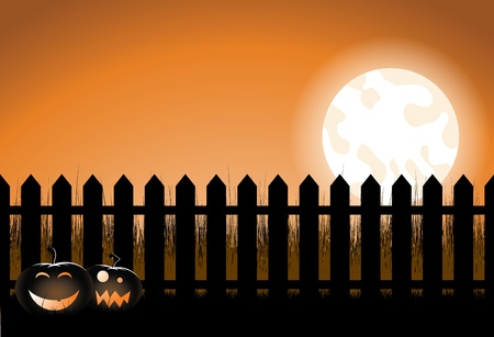 white picket fence: An illustration of a halloween picket fence with pumpkins and a moon.  Illustration
