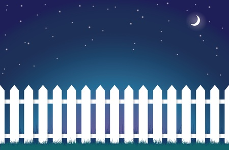 picket fence: An illustration of a white picket fence at night.