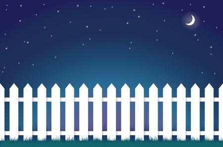 cerca blanca: Una ilustraci�n de una cerca blanca en la noche.