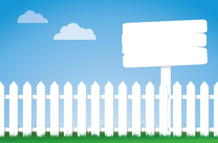An illustration of a white picket fence with a sign. Vector