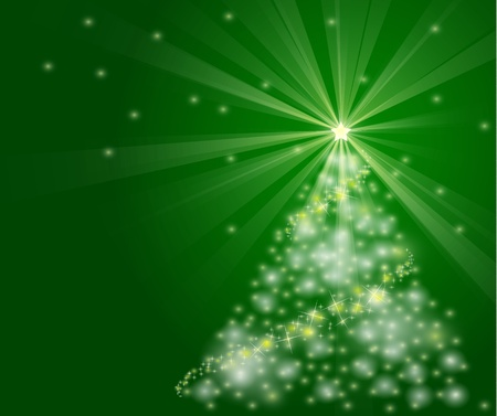well detailed christmas tree illustration with bright, sparkly lights. EPS version 8 gradients and opacity used.