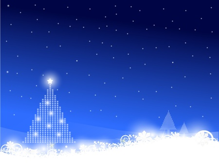 opacity: Christmas tree scene on blue background with snowflakes and snow.EPS version 8 gradients and opacity used.