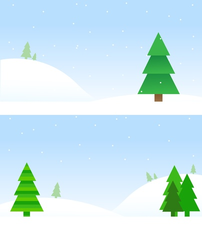 two different backgrounds with christmas tree designs on a winter background, lots of copy space.  opacity and gradients used. Vector