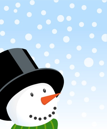 Happy christmas snowman illustration with falling snow and lots of copy space. Eps version 8, opacity and gradients used.