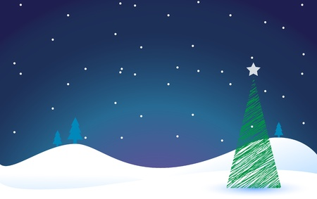 christmas tree background on a winter scene at night, lots of copy space. Eps version 8, opacity and gradients used. Stock Vector - 11315030