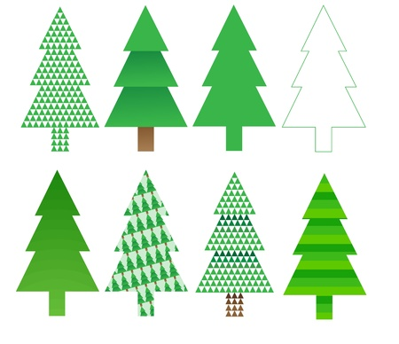 eight different christmas tree designs. Stock Vector - 11315031