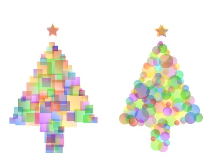 two different multi coloured christmas tree designs with stars, isolated on white. opacity and gradients used.