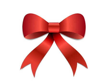 silk bow: Big red Christmas bow illustration with gradients and opacity