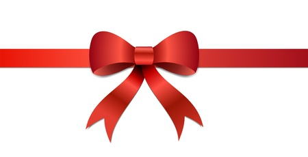 Big red Christmas bow illustration with gradients and opacity, Eps version 8. Vector